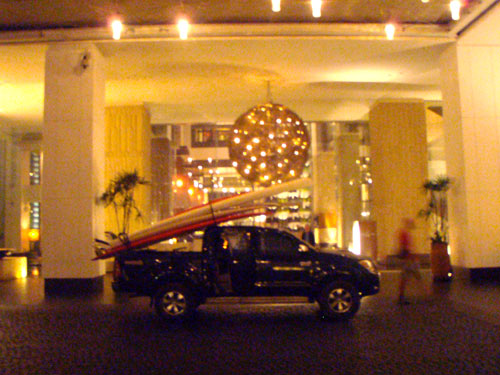 Loading the gear in ront of the Hilton in Bangkok.