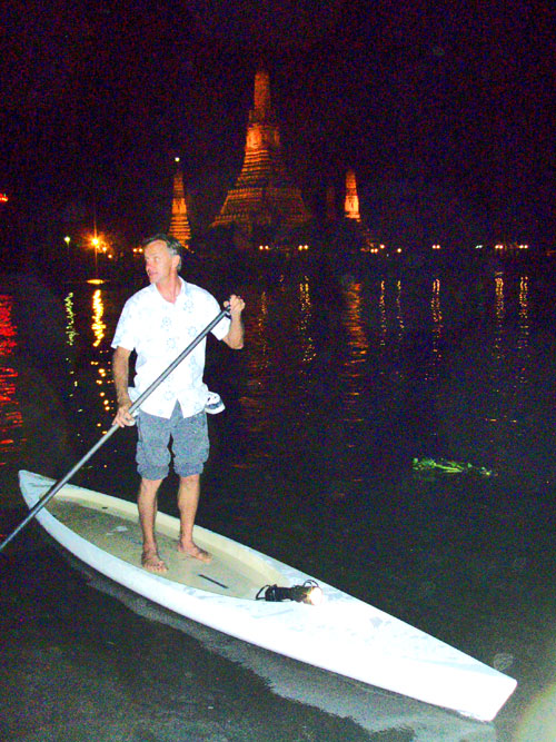 Our guide, Svein Rasmussen, on the Chao Praya with a new proto.