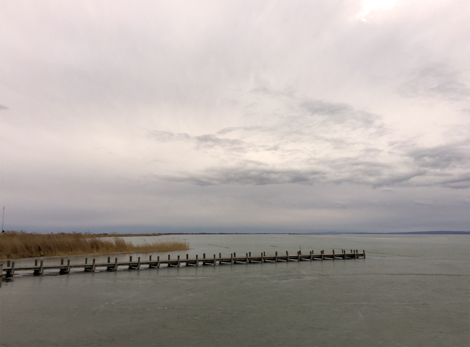 Lake Neusiedl, a winter view from Weiden to Podersdorf