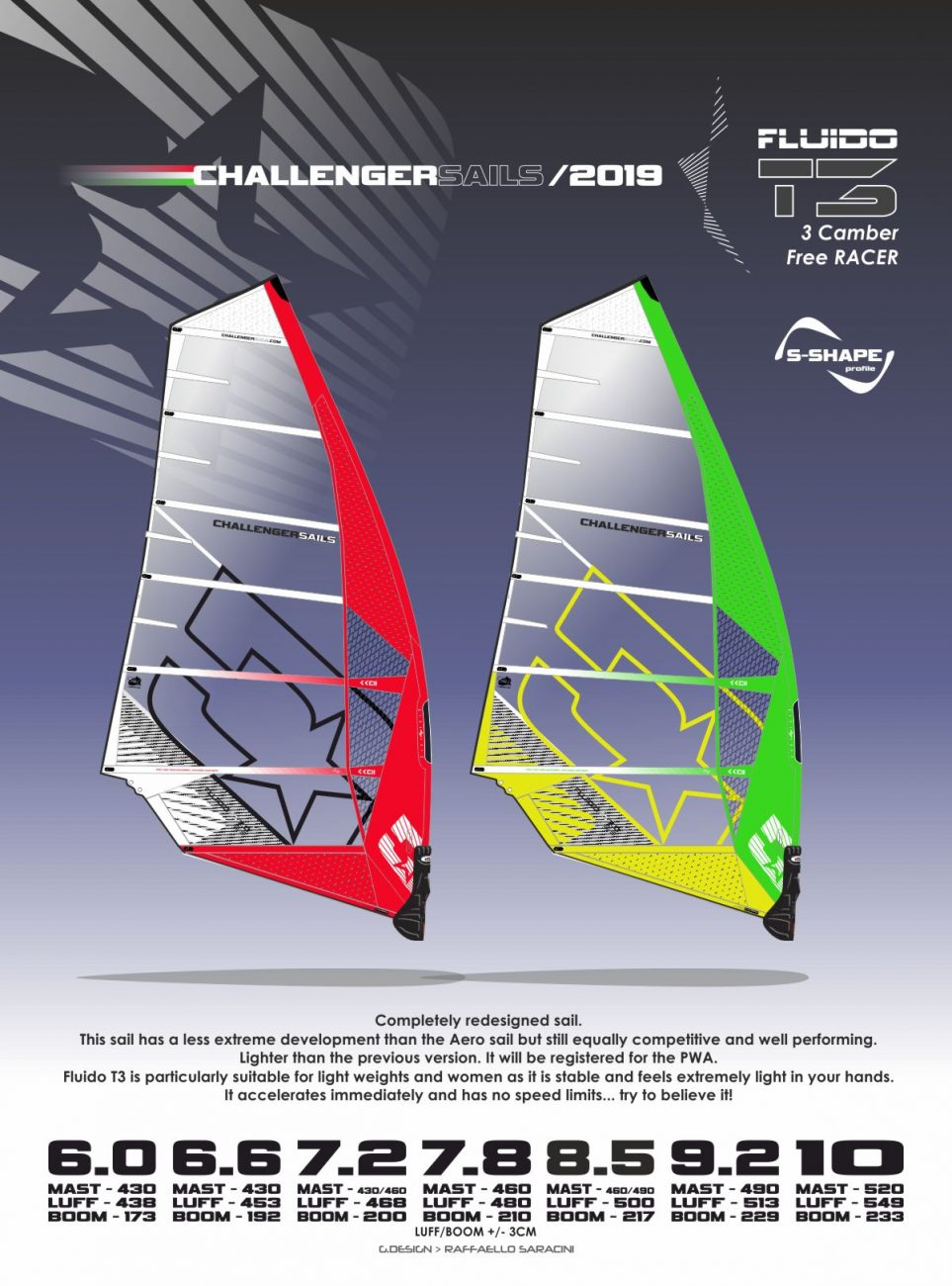 CHS 2019 FluidoT3 - 3 cam racing machine for lighter and samller rider or racers, who are looking for a sail with handling
